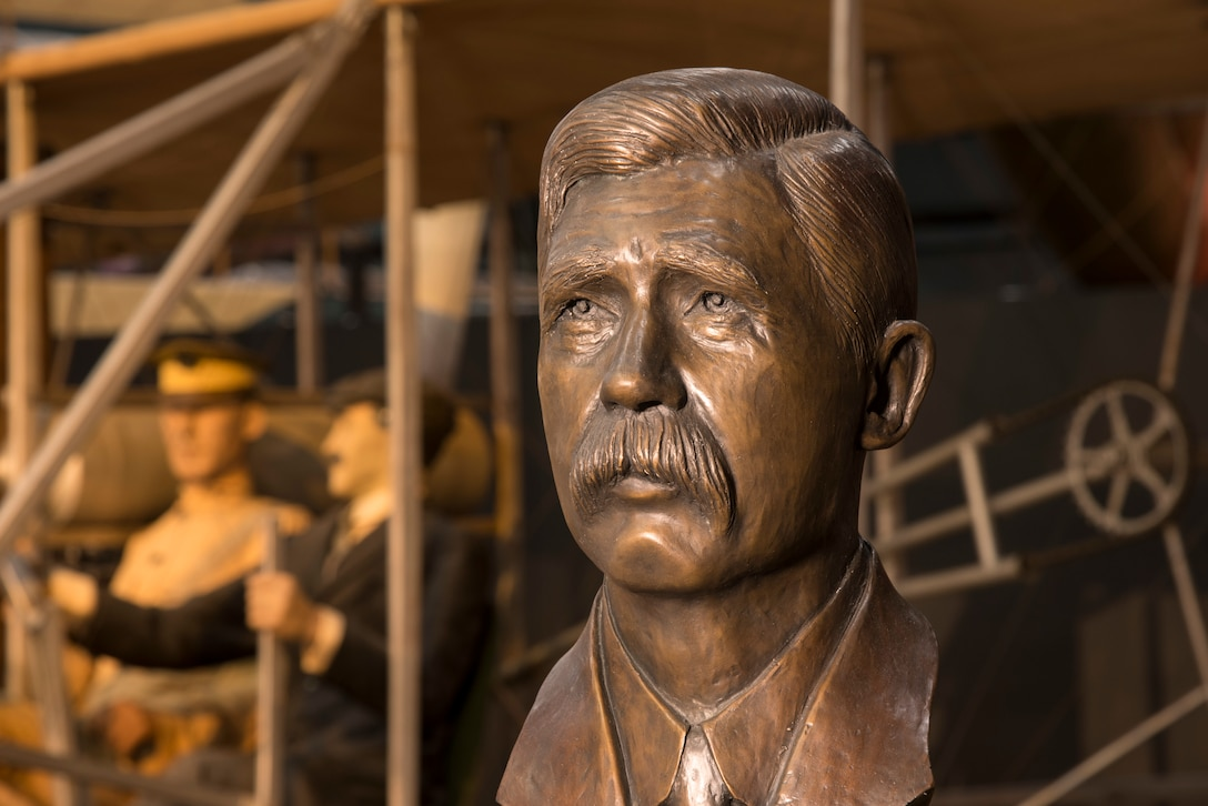 DAYTON, Ohio - A bronze bust honoring the first aviation mechanic, Charles E. Taylor, on display in the National Museum of the U.S. Air Force's Early Years Gallery. (U.S. Air Force photo by Ken LaRock)