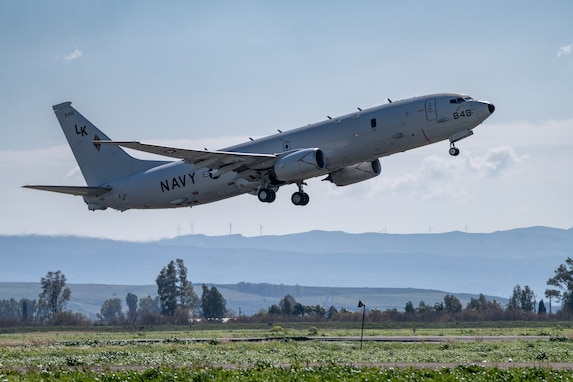 """A P-8A Poseidon, attached to the """"Tridents"""" of Patrol Squadron (VP) 26, takes off from a runway during exercise Dynamic Manta 2019."""