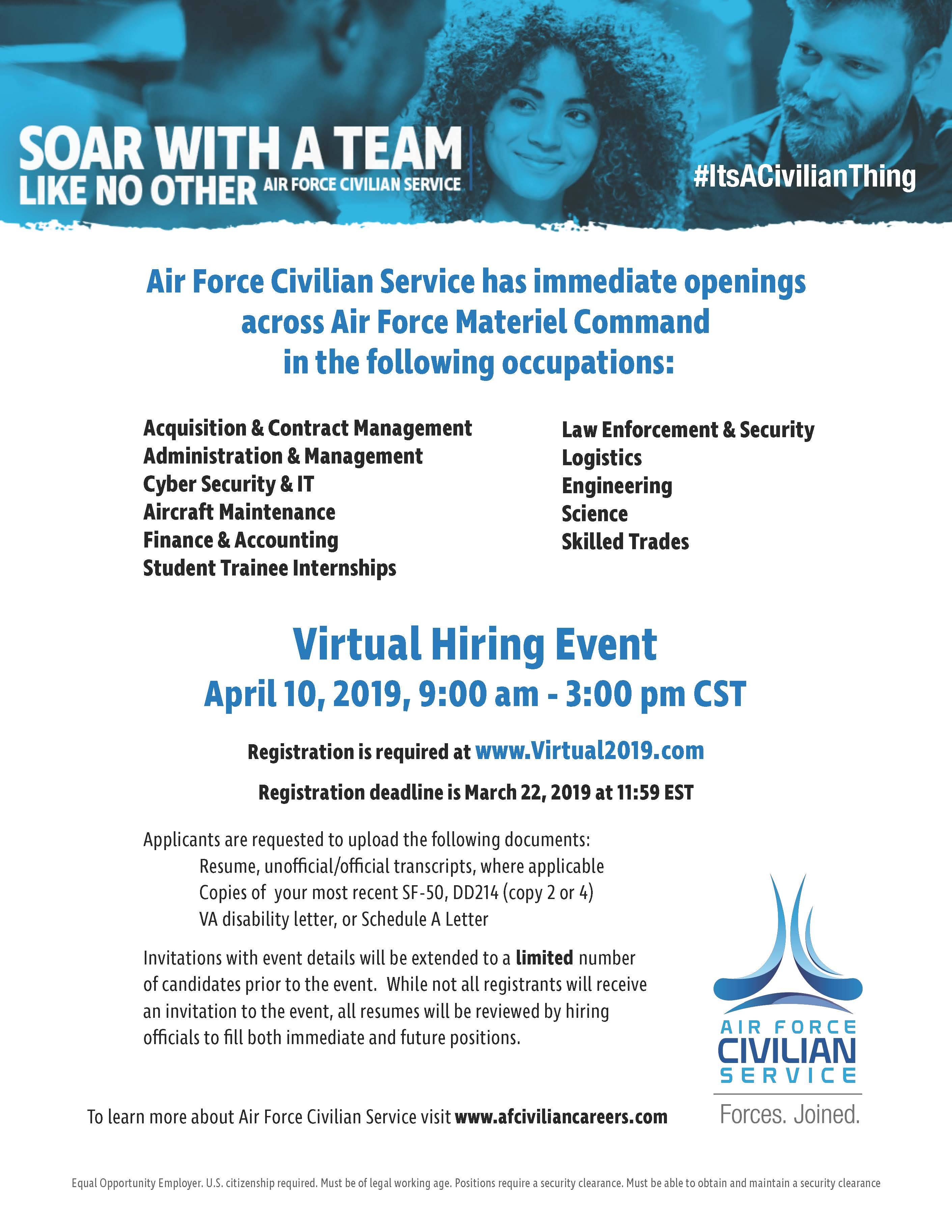 Afmc To Host Virtual Hiring Event Robins Air Force Base Article