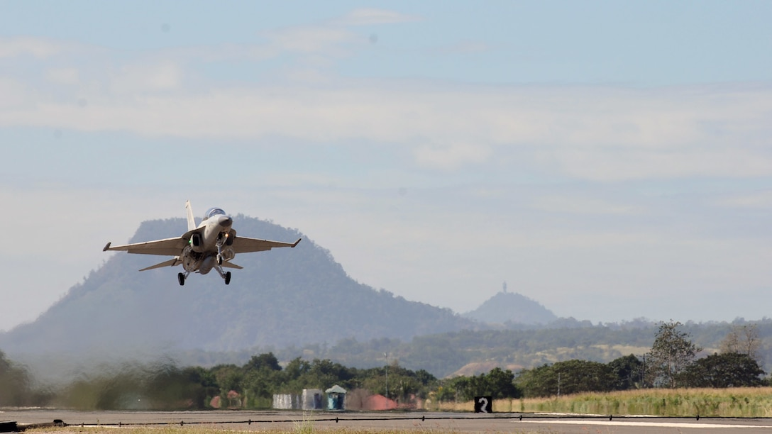 A Philippine Air Force FA-50 takes off during the Bilateral Air Contingent Exchange - Philippines (BACE-P) at Cesar Basa Air Base, Philippines, Jan. 22, 2019. This is the seventh iteration of BACE-P established by U.S. Pacific Command and executed by Headquarters Pacific Air Forces. Airmen from the U.S. and Philippines Air Forces marked the successful completion of 12 days of bilateral training Feb. 1, and increased mutual cooperation throughout the operation. (U.S. Air Force photo by Staff Sgt. Anthony Small)