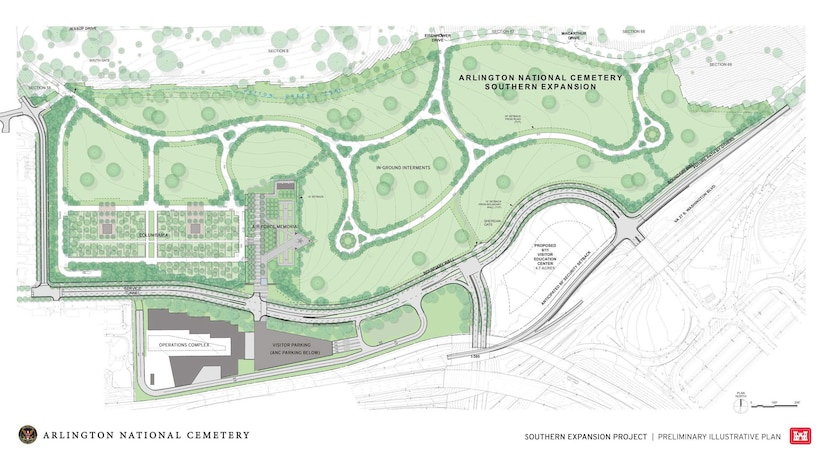 An architectural illustration shows plans for Arlington National Cemetery.