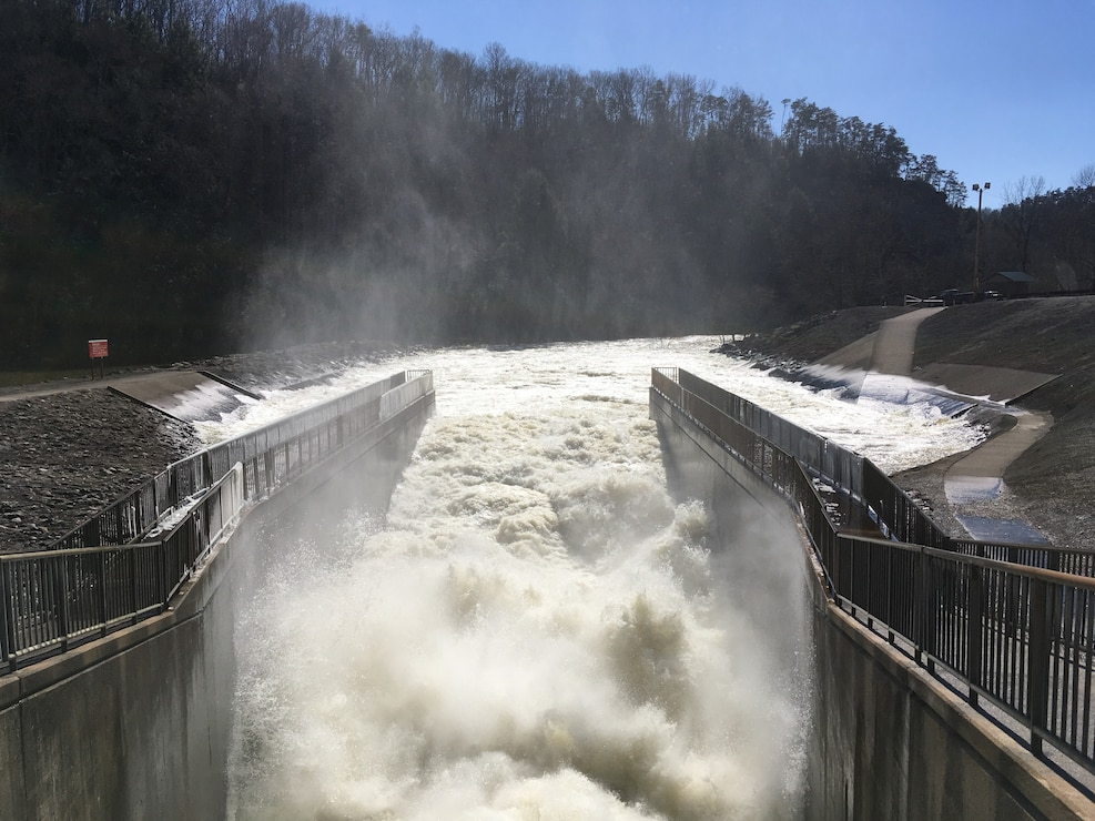 Water rushes into the stilling basin immediately below the dam at Nolin River Lake in Bee Spring, Kentucky.