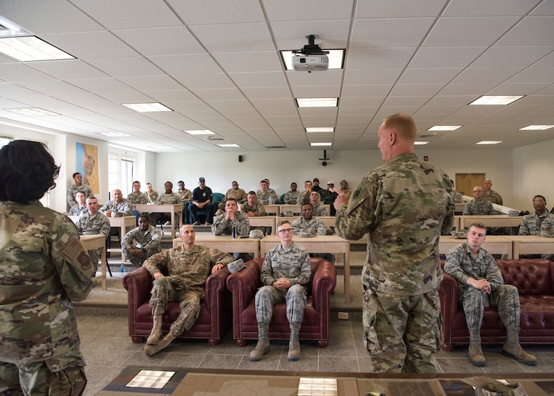 U.S. Air Force Col. Michael Hough, 30th Space Wing commander, thanks the 30th Civil Engineer Squadron March 12, 2019, at Vandenberg Air Force Base, Calif. Hough thanked CES for their hard work last weekend after the inclement weather hit the base and jepordized the base's safety. (U.S. Air Force photo by Airman 1st Class Aubree Milks)