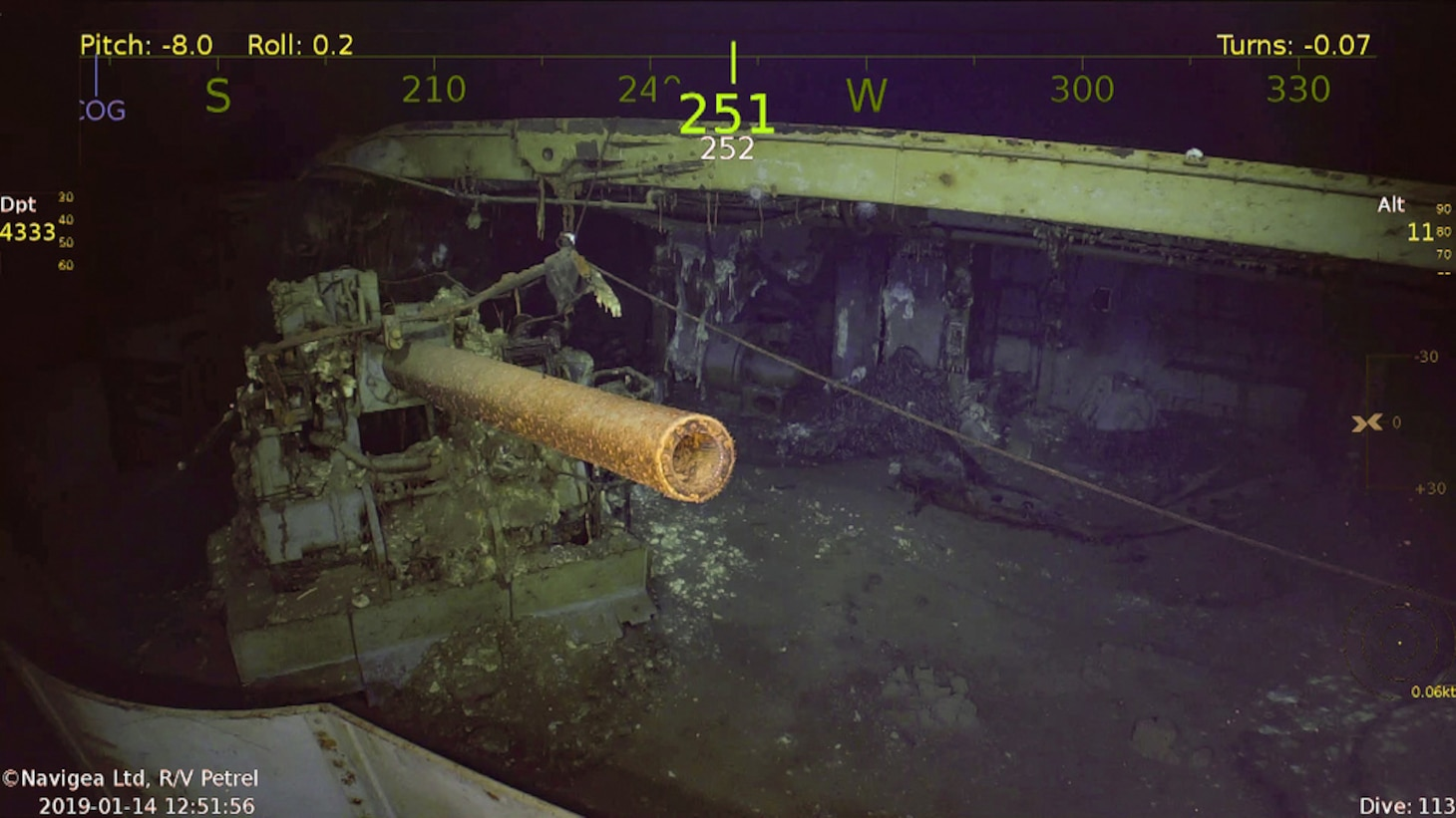 A 5-inch gun on USS Wasp (CV 7), which was discovered on Jan. 14, 2019, by the expedition crew of Paul G. Allen's research vessel (R/V) Petrel.