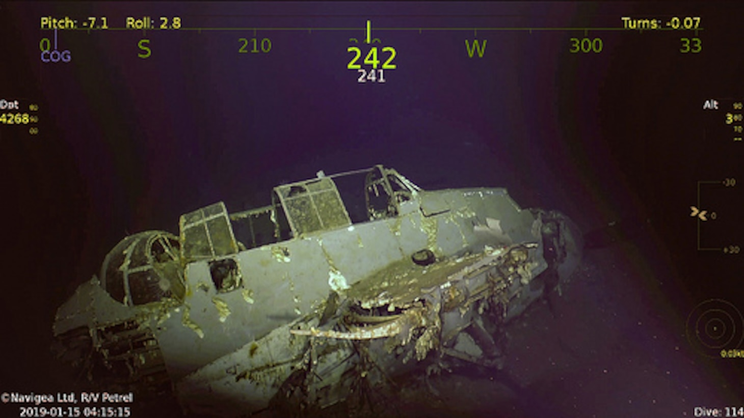 An Avenger aircraft that was previously aboard USS Wasp (CV 7), which was discovered on Jan. 14, 2019, by the expedition crew of Paul G. Allen's research vessel (R/V) Petrel.