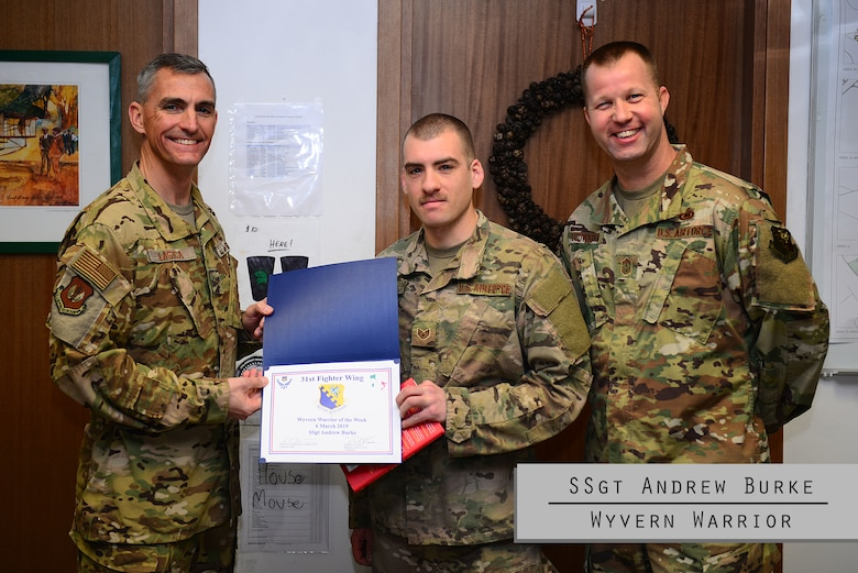 This week's Wyvern Warrior is SSgt Andrew Burke, dedicated crew chief at the 555th Aircraft Maintenance Unit! Originally from Ann Arbor, Michigan, Burke joined the Air Force eight years ago and oddly enough has been at Aviano for 5.55 years. Since arriving at Aviano, Burke has distinguished himself from others in many ways. For example, he designed a jet fuel starter pump handle which is used to reduce the amount of Airmen needed for the job from five down to one!