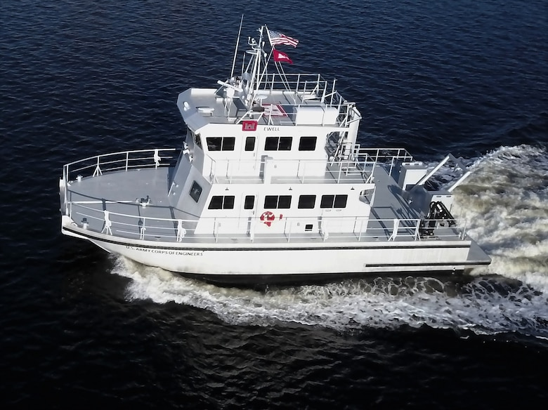 The USACE Marine Design Center managed the design and construction of the Survey Vessel EWELL on behalf of the USACE  Norfolk District. The 61' vessel is a Foil Assisted Catamaran, with an aluminum hull and stainless steel hydrofoils.