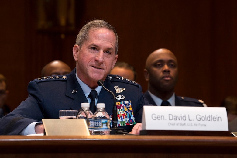 Air Force Chief of Staff Gen. David L. Goldfein testifies during a Senate Appropriations Committee hearing on the fiscal year 2020 funding request and budget justification for the Department of the Air Force in Washington, D.C., March 13, 2019. (U.S. Air Force photo by Adrian Cadiz)