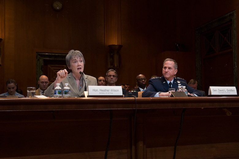 Secretary of the Air Force Heather Wilson testifies during a Senate Appropriations Committee hearing on the fiscal year 2020 funding request and budget justification for the Department of the Air Force in Washington, D.C., March 13, 2019. (U.S. Air Force photo by Adrian Cadiz)