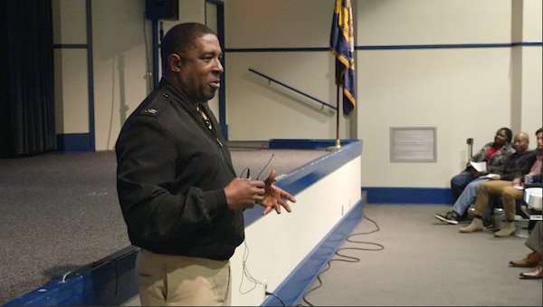 "IMAGE: DAHLGREN, Va. – Capt. Godfrey ""Gus"" Weekes, NSWCDD Commanding Officer, delivered the keynote talk during the annual Black History Observance on Feb. 21. Weekes spoke to a standing-room only crowd in the Base Theater."