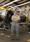 Airman 1st Class Rachel Kingsley, 104th Maintenance Group aircraft engine mechanic, has worked in the engine shop for four months and is honing her skills as an engine mechanic to ensure the F-15 Eagles are ready to fly.