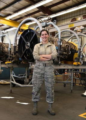 Airman First Class Rachel Kingsley, 104th Maintenance Group aircraft engine mechanic, has worked in the engine shop for four months and is honing her skills as an engine mechanic to ensure the F-15 Eagles are ready to fly.
