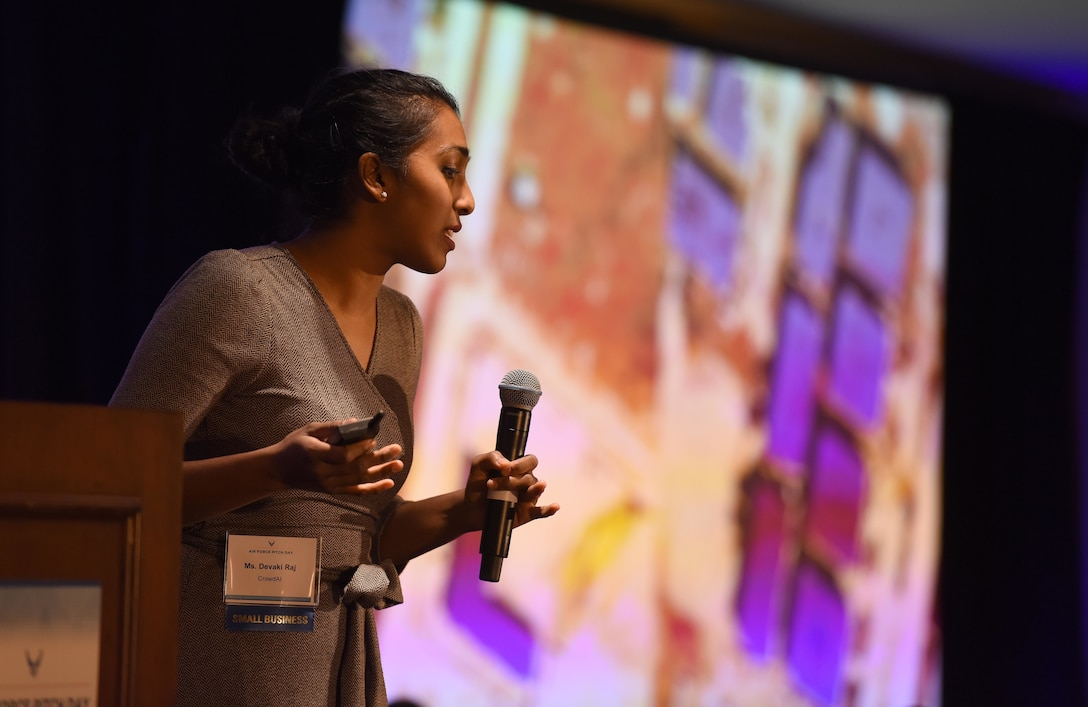 Devaki Raj, CEO and Founder at CrowdAI, pitches her product to a crowd of small businesses, venture capitalists, and Airmen during the Inaugural Air Force Pitch Day, New York City, March 7, 2019. Raj was awarded a same-day contract with the U.S. Air Force during AF Pitch Day. AF Pitch Day is designed as a fast-track program to put companies on one-page contracts and same-day awards with the swipe of a government credit card. The Air Force is partnering with small businesses to help further national security in air, space and cyberspace.