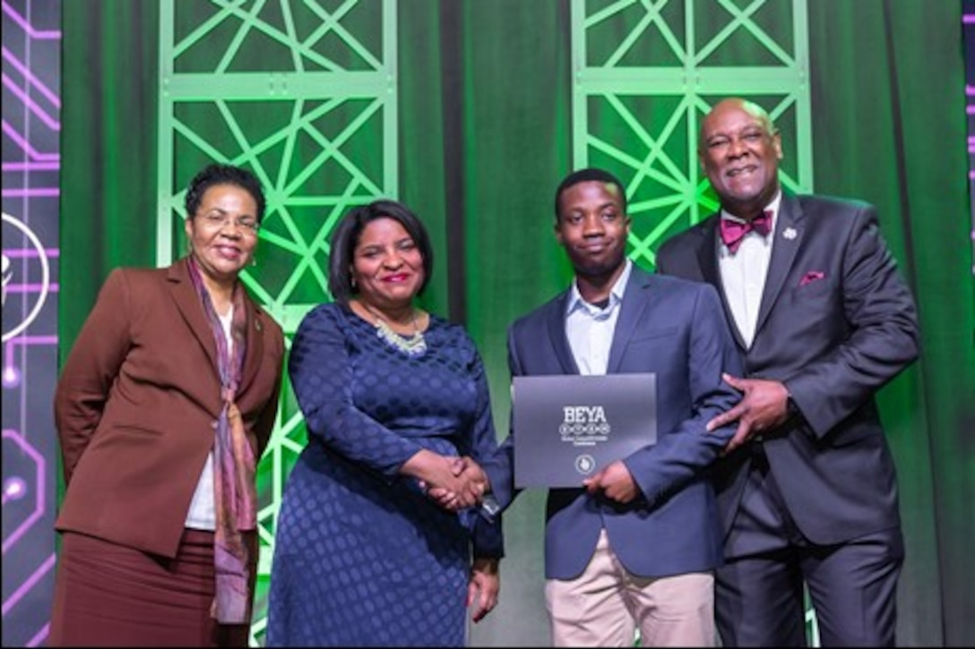Ainoghena Igetei, an associate computer engineer at the Air Force Research Laboratory Information Directorate at Rome, New York, was recognized as a Modern Day Technology Leader  at the Black Engineer of the Year Awards (BEYA) STEM Global Competitiveness Conference held Feb. 7-9 in Washington, D.C. (Courtesy photo)