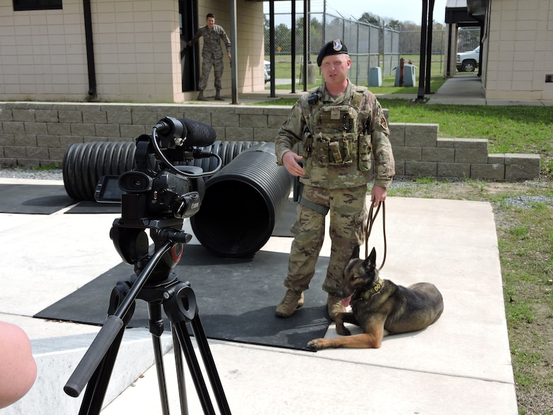 78 SFS hosts local media for National K-9 Veterans Day