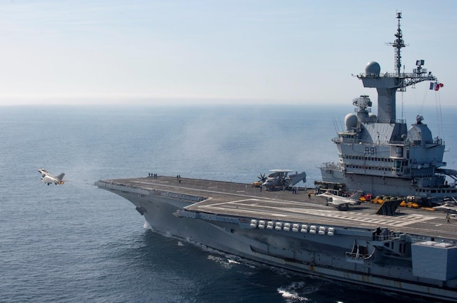 On 13th March 2019, the French Carrier Strike Group, CTF473 arrived off-shore Syria to support Combined Joint Task Force Operation Inherent Resolve. The Carrier Strike Group is composed of the Aircraft carrier Charles-de-Gaulle, the Danish frigate Daniel Juel, and an attack submarine among other assets.  The Charles-de-Gaulle launched Rafale Marine and Hawkeye aircraft to support coalition troops on the ground and gather intelligence while other air assets and vessels were conducting air and maritime control operations.