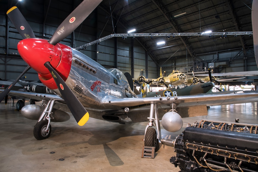 DAYTON, Ohio -- The North American P-51D Mustang on display in the  World War II Gallery at the National Museum of the United States Air Force. (U.S. Air Force photo by Ken LaRock)