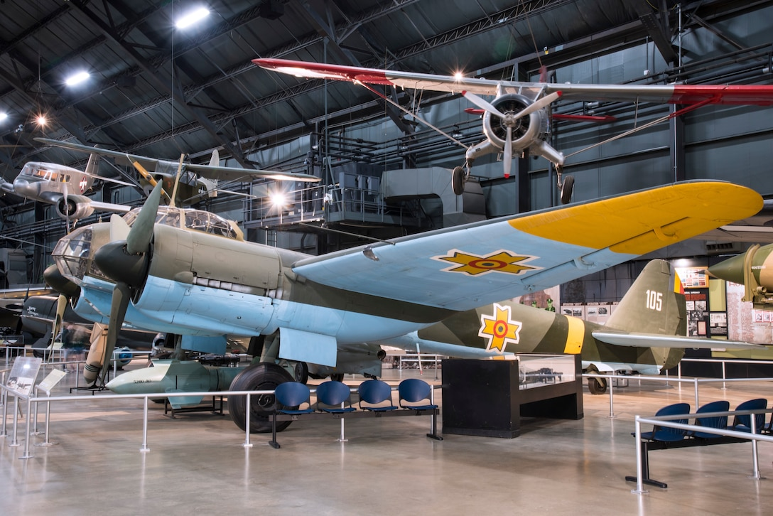 DAYTON, Ohio -- The Junkers Ju 88D-1/Trop on display in the  World War II Gallery at the National Museum of the United States Air Force. (U.S. Air Force photo by Ken LaRock)