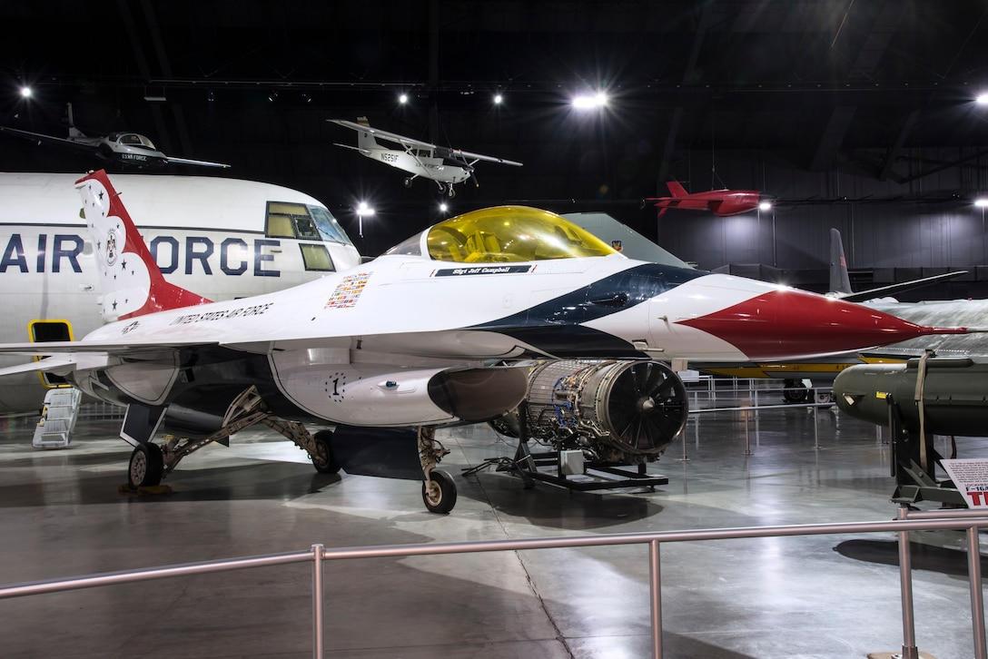 DAYTON, Ohio -- General Dynamics F-16A Fighting Falcon in the Cold War Gallery at the National Museum of the United States Air Force. (U.S. Air Force photo by Ken LaRock)