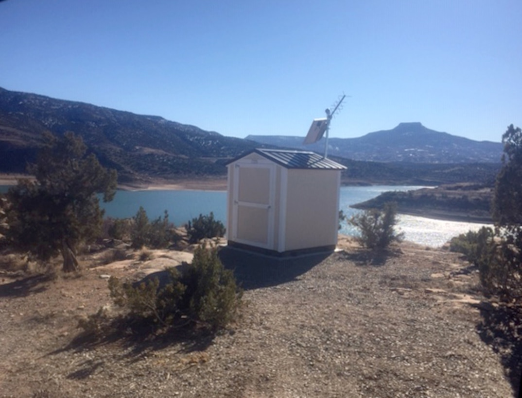 "This ""bubble shed"" houses the new lake elevation measuring equipment at Abiquiu Lake."