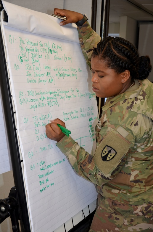 Capt. Julie Riggio, 1LSBn LOGCAP Support Officer, works on her team's statement of work and letter of justification before she presents to the Joint Readiness Review Board.