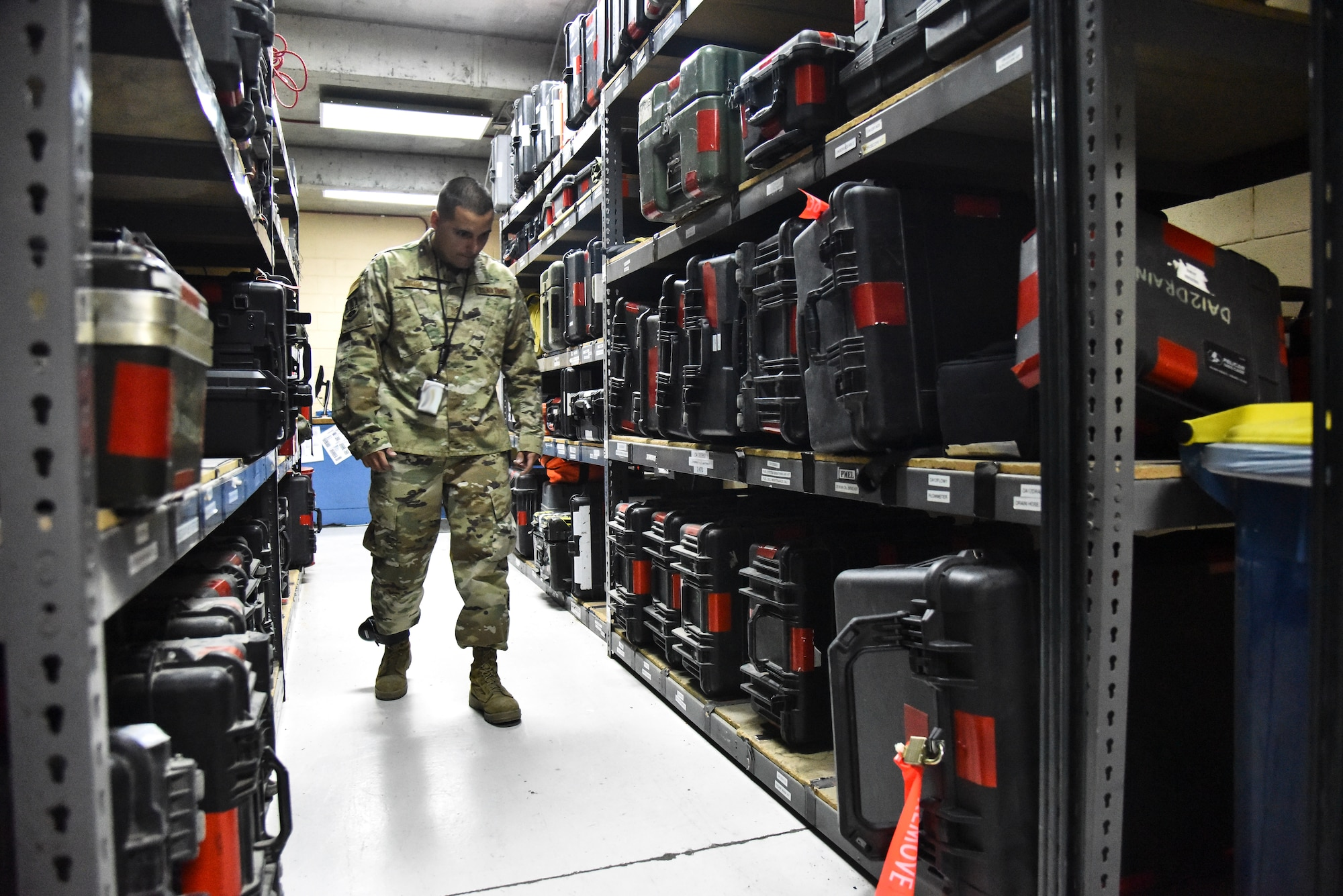 Staff Sgt. Luis Rosa, 380th Expeditionary Maintenance Group RQ-4 Global Hawk and U-2 Dragon Lady quality assurance inspector, performs an inspection with RQ-4 Global Hawk tool kits at Al Dhafra Air Base, United Arab Emirates, March 12, 2019. QA Airmen serve as the primary technical advisory agency in the maintenance organization, assisting maintenance supervision at all levels to identify, validate and/or resolve workmanship, proficiency and/or compliance issues impacting mission generation. (U.S. Air Force photo by Senior Airman Mya M. Crosby)