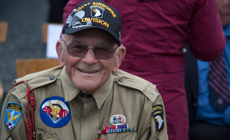 """WWII Veteran Robert """"Bob"""" Noody in Picauville, France"""