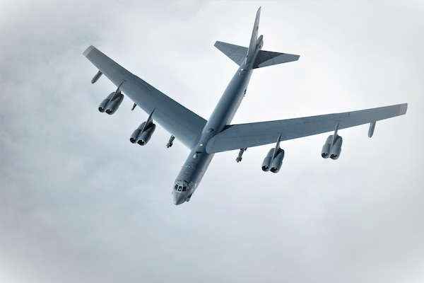 A U.S. Air Force B-52 Stratofortress pulls away from a KC-135 Stratotanker from the 100th Air Refueling Wing, RAF Mildenhall, England, after receiving fuel off the English coast, March 14, 2019.  U.S. Strategic Command forces are on watch 24/7 to deter and detect strategic attack against the U.S. and NATO allies.
