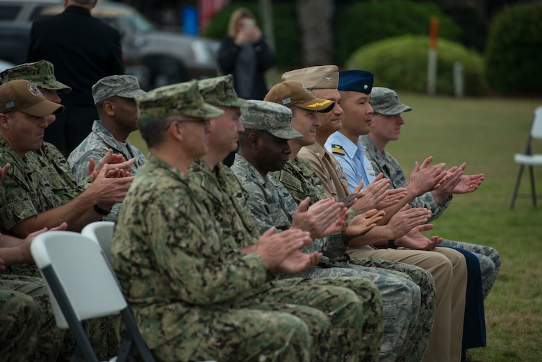 Members of Joint Base Charleston's leadership attend the proclamation ceremony for Navy Week March 11, 2019, at Patriots Point in Mount Pleasant, S.C.
