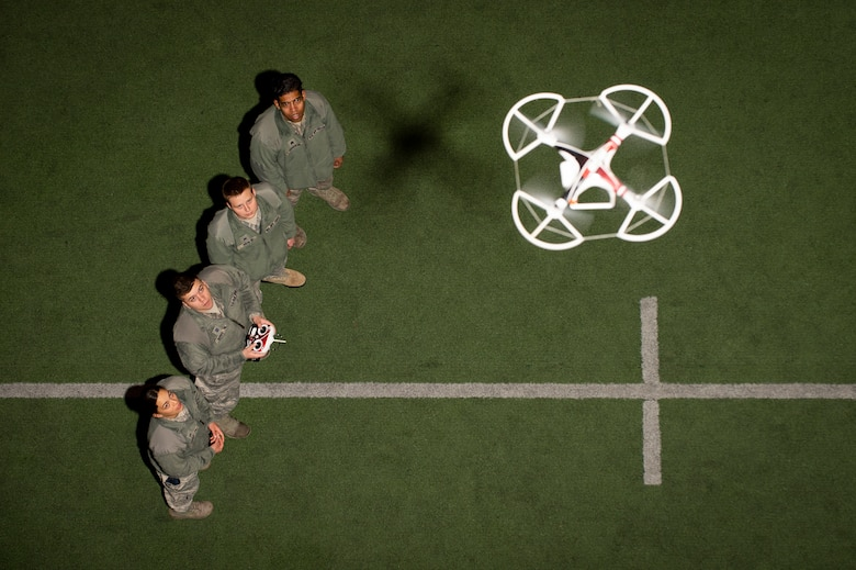 Airmen familiarize themselves with quad-copter