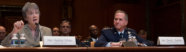 Secretary of the Air Force Heather Wilson and Air Force Chief of Staff Gen. David L. Goldfein testify during a Senate Appropriations Committee hearing on the fiscal year 2020 funding request and budget justification for the Department of the Air Force in Washington, D.C., March 13, 2019.