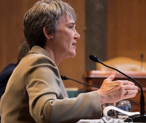 Secretary of the Air Force Heather Wilson testifies during a Senate Appropriations Committee hearing on the fiscal year 2020 funding request and budget justification for the Department of the Air Force in Washington, D.C., March 13, 2019.