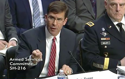 Secretary of the Army Mark T. Esper responds to a question while testifying before the Senate Armed Services Committee on Capitol Hill in Washington, D.C., March 7, 2019. Army senior leaders introduced an action plan to lawmakers that outlines steps to remedy military housing issues.