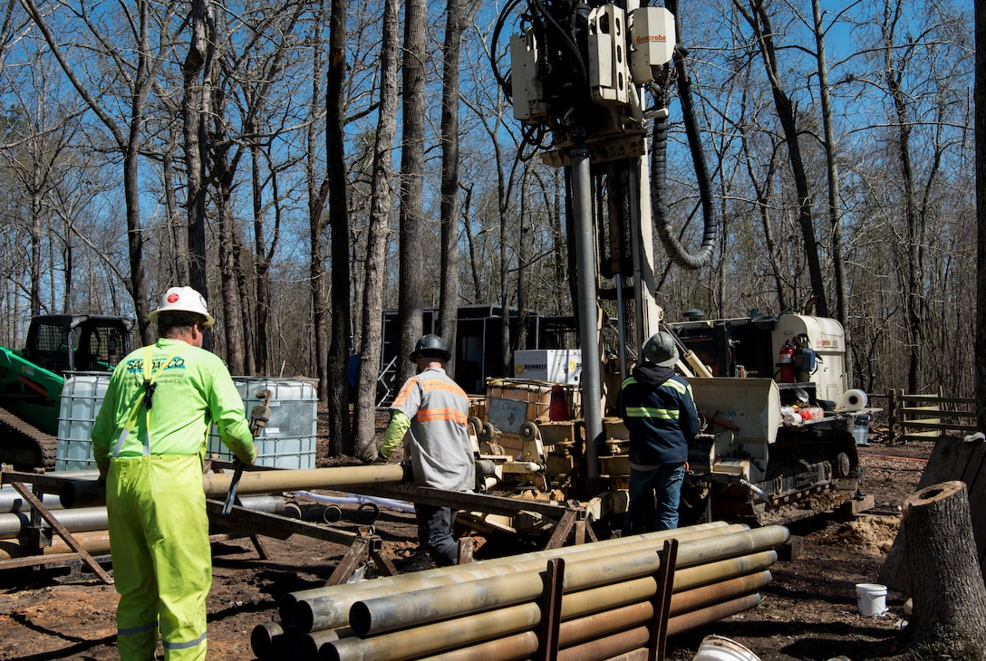 South Atlantic Environmental Drilling and Construction Company workers drill into the ground to insert a BOS 100® Treatment Barrier at Sans Souci Farm in Sumter, S.C., March 7, 2019.