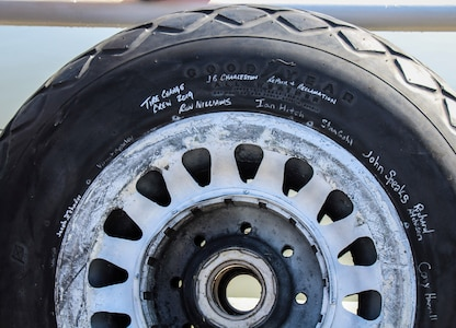 One of the main landing gear tires for a B-25 bomber at Patriots Point Maritime Museum in Mount Pleasant, S.C., signed by members of the 437th Maintenance Squadron Aero Repair/Wheel and Tire Shop at Joint Base Charleston, S.C.