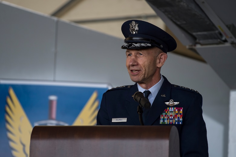 Gen. Mike Holmes, commander of Air Combat Command speaks at the Celebration of Life ceremony honoring the late W. Parker Greene, March 14, 2019, at Moody Air Force Base, Ga. The event was held in honor of Mr. Greene and his unwavering support to Moody, the local community and the entire Air Force for more than 40 years. Mr. Greene, a steadfast Air Force advocate and one of the most influential military civic leaders, passed away Dec. 18, 2018. (U.S. Air Force photo by Senior Airman Janiqua Robinson)