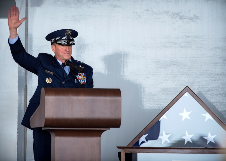 Air Force Chief of Staff Gen. David L. Goldfein, raises his hand in acknowledgement as he polls the crowd for those personally impacted by W. Parker Greene during a Celebration of Life ceremony, March 14, 2019, at Moody Air Force Base, Ga. The event was held in honor of Mr. Greene and his unwavering support to Moody, the local community and the entire Air Force for more than 40 years. Mr. Greene, a steadfast Air Force advocate and one of the most influential military civic leaders, passed away Dec. 18, 2018. (U.S. Air Force photo by Airman 1st Class Eugene Oliver)