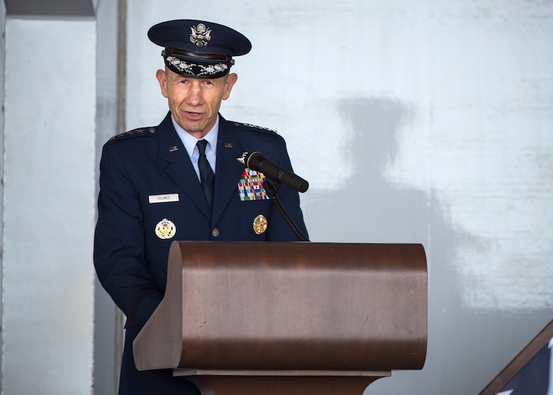 Gen. Mike Holmes, commander of Air Combat Command speaks at the Celebration of Life ceremony honoring the late W. Parker Greene, March 14, 2019, at Moody Air Force Base, Ga. The event was held in honor of Mr.Greene and his unwavering support to Moody, the local community and the entire Air Force for more than 40 years. Mr. Greene, a steadfast Air Force advocate and one of the most influential military civic leaders, passed away Dec. 18, 2018.  (U.S. Air Force photo by Airman 1st Class Eugene Oliver)