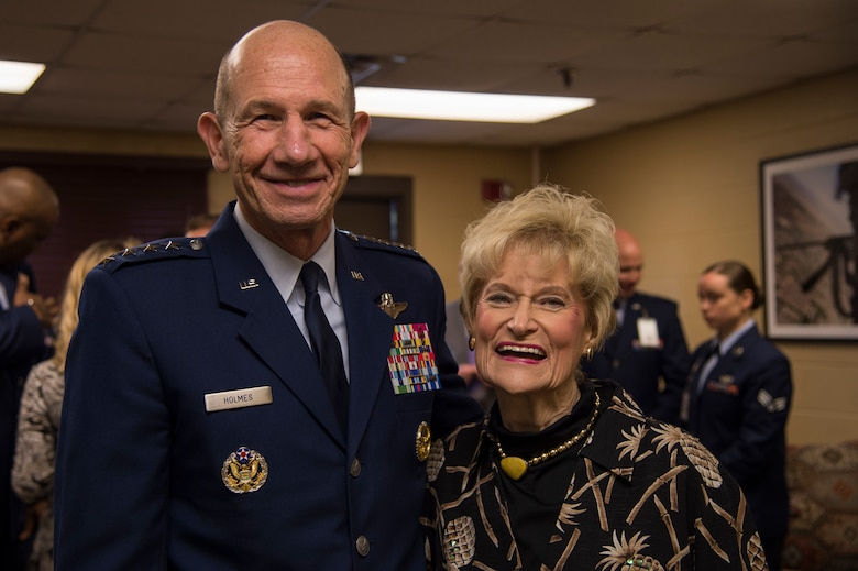 Gen. Mike Holmes, commander of Air Combat Command, poses for a photo with Dr. Lucy Greene during the Celebration of Life ceremony honoring the late Mr. W. Parker Greene, March 14, 2019, at Moody Air Force Base, Ga. Greene, a steadfast Air Force advocate and one of the most influential military civic leaders passed away Dec. 18, 2018. (U.S. Air Force Photo by Andrea Jenkins)