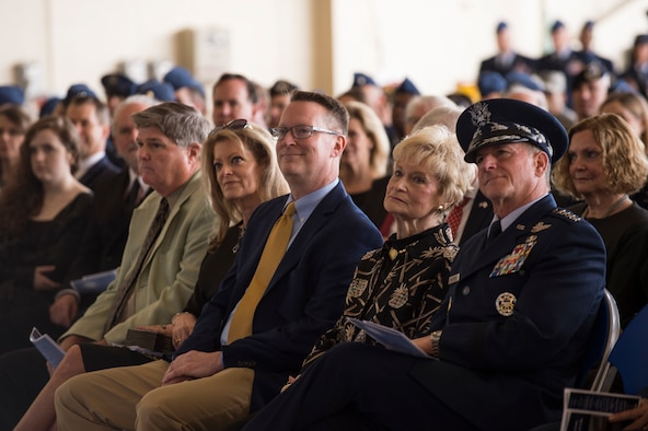 Family of the late Mr. W. Parker Greene and Air Force Chief of Staff Gen. David L. Goldfein, right, listen to remarks during a Celebration of Life ceremony honoring Mr. Greene, March 14, 2019, at Moody Air Force Base, Ga. Greene, a steadfast Air Force advocate and one of the most influential military civic leaders passed away Dec. 18, 2018. (U.S. Air Force Photo by Andrea Jenkins)