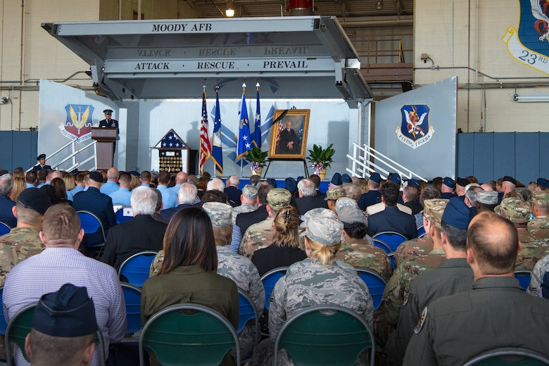 Air Force Chief of Staff Gen. David L. Goldfein speaks at the Celebration of Life ceremony honoring the late W. Parker Greene, March 14, 2019, at Moody Air Force Base, Ga. The event was held in honor of Mr. Greene and his unwavering support to Moody, the local community and the entire Air Force for more than 40 years. Mr. Greene, a steadfast Air Force advocate and one of the most influential military civic leaders, passed away Dec. 18, 2018. (U.S. Air Force photo by Airman 1st Class Taryn Butler)