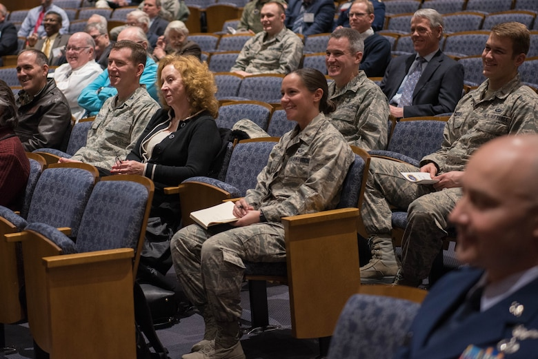 Scientists, researchers and other various guests listen to Air Force Institute of Technology alumni and heads of fields of science during the AFIT Centennial Symposium about the future of the Air Force at the Sinclair Ponitz Conference Center in Dayton, Ohio, Mar. 5, 2019. Attendees had the chance to listen to the Chief Scientist of the Air Force, those who currently work at NASA, and other prominent members of the science community.