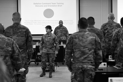 Brig. Gen. Kris Belanger, Commanding General, 85th Support Command, opens up the 85th U.S. Army Reserve Support Command's Battalion Commanders Huddle reciting the Soldier's Creed with her battalion command teams, March 8-10, 2019.