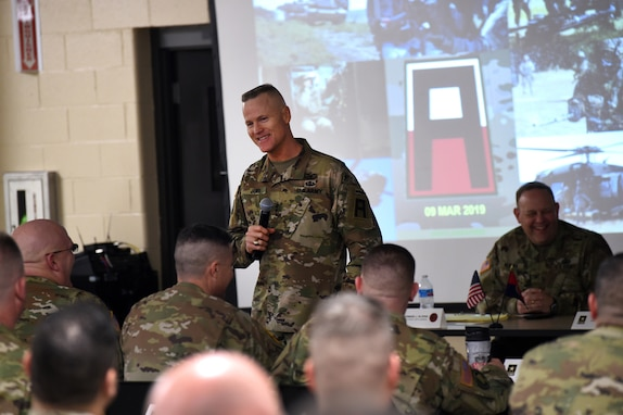 Army Lt. Gen. Thomas James Jr, Commanding General, First Army, discusses the importance of readiness with battalion command teams who gathered in Arlington Heights, Illinois for a three-day briefing, hosted by the 85th U.S. Army Reserve Support Command, Mar. 8-10, 2019.