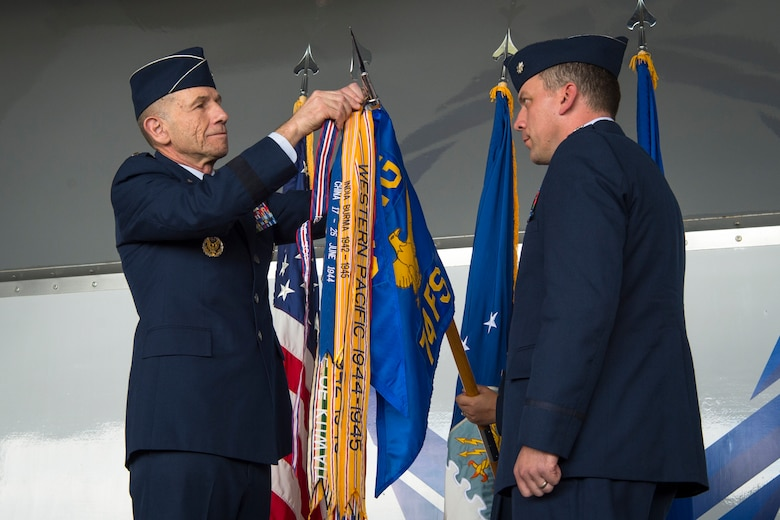 Gen. Mike Holmes, Air Combat Command commander, hangs the Gallant Unit Citation streamer, March 14, 2019, at Moody Air Force Base, Ga. When deployed, the 74th FS becomes the 74th Expeditionary Fighter Squadron (EFS), whose mission is to provide close air support, air interdiction and combat search and rescue to facilitate Operation INHERENT RESOLVE objectives. The 74th EFS distinguished itself by extraordinary heroism while engaged in conflict with an opposing force from July 15, 2017, to Jan. 15, 2018.  During this time, the 74th EFS flew over 1,600 sorties and 10,000 hours in support of the operation, striking nearly 2,500 targets and killing 3,100 Islamic State of Iraq and Syria (ISIS) fighters. Upon the 74th EFS departure, the United States declared ISIS defeated in Syria and Iraq. (U.S. Air Force photo by Airman 1st Class Taryn Butler)