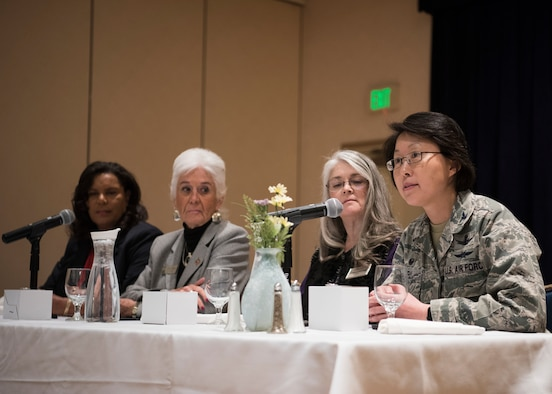 Women of the Women's Empowerment Panel speak to attendees during the Women's History Month Empowerment Panel March 14, 2019, at Vandenberg Air Force Base, Calif. The four women on the panel, who hold leadership roles both on base and in the local community, spoke to approximately 60 members, answering questions and emphasizing what is was like to be a women in a position of leadership. (U.S. Air Force Airman 1st Class Aubree Milks)