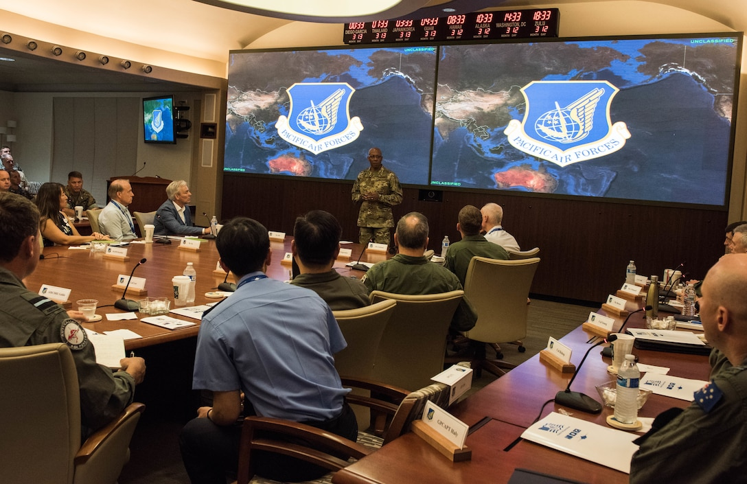 U.S. Air Force Gen. CQ Brown, Jr., Pacific Air Forces (PACAF) commander, speaks to members of the Pacific F-35 Users Group Conference at Headquarters PACAF, Joint Base Pearl Harbor-Hickam, Hawaii, March 12, 2019.