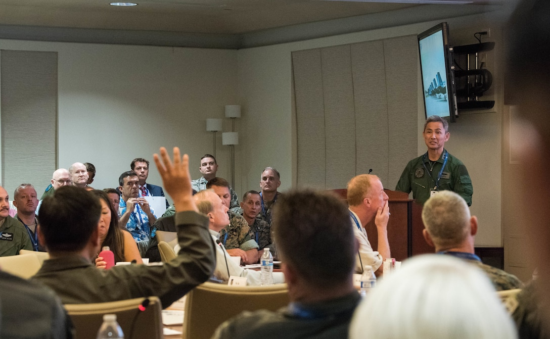 Koku Jieitai (Japan Air Self-Defense Force) Maj. Gen. Koji Imaki, Director of Defense Pans & Operations, gives a country update briefing during the Pacific F-35 Users Group Conference at Headquarters Pacific Air Forces, Joint Base Pearl Harbor-Hickam, Hawaii, March 13, 2019.