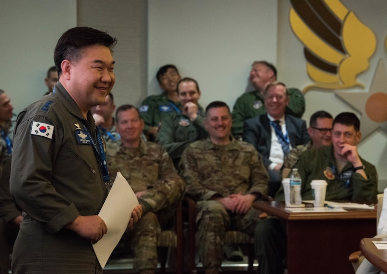 Republic of Korea Air Force Col. Junsun Lee, 17th Fighter Wing Air Operations Group commander, gives a country update briefing during the Pacific F-35 Users Group Conference at Headquarters Pacific Air Forces, Joint Base Pearl Harbor-Hickam, Hawaii, March 13, 2019.