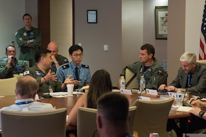 Republic of Korea Air Force Col. Junsun Lee, 17th Fighter Wing Air Operations Group commander, speaks to members of the Pacific F-35 Users Group Conference at Headquarters PACAF, Joint Base Pearl Harbor-Hickam, Hawaii, March 12, 2019.